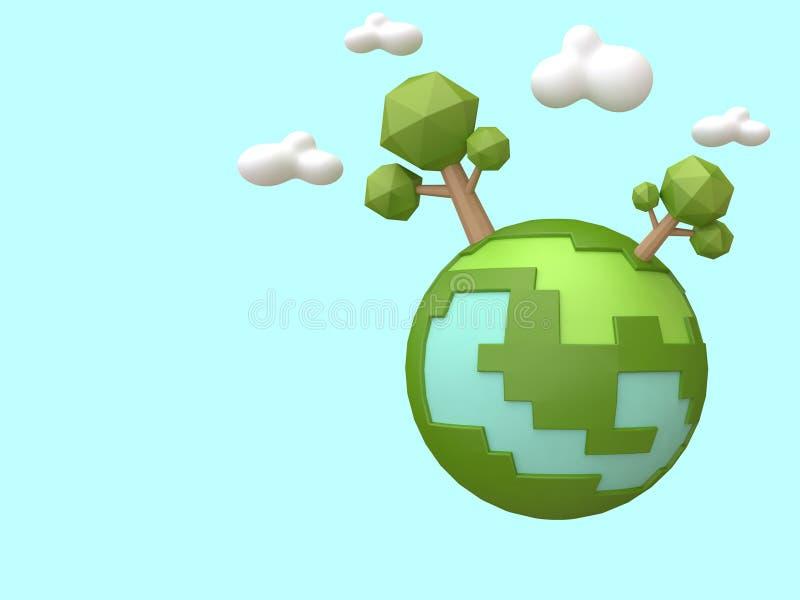 Stile basso 3d del fumetto degli terra-alberi verdi poli rendere concetto di ecologia illustrazione di stock