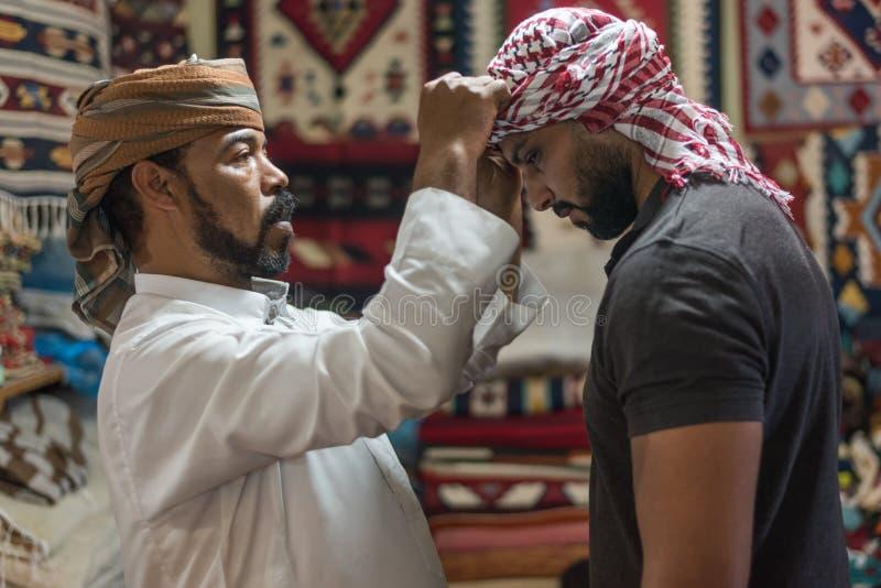 Stile beduino della sciarpa capa in Siwa Egitto fotografia stock libera da diritti