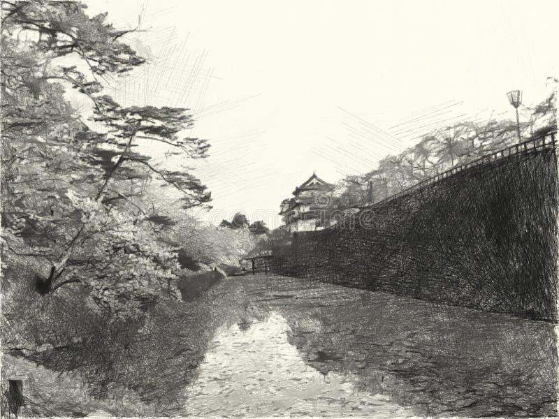 Stile in bianco e nero di disegno di paesaggio nel backgroun del Giappone immagine stock libera da diritti