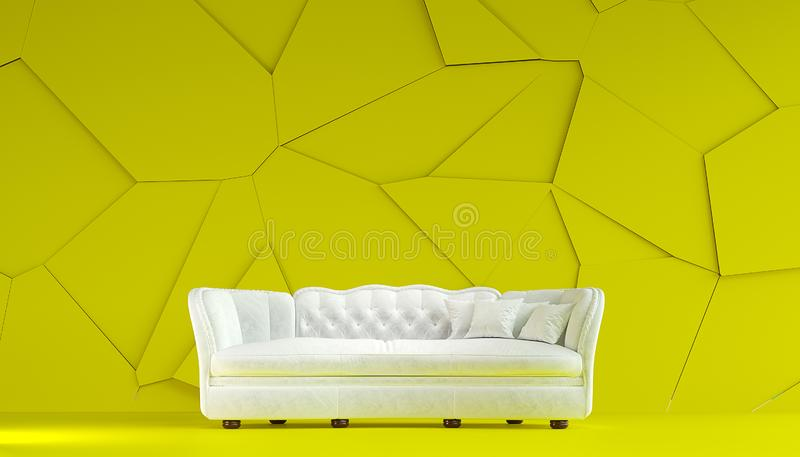 Stile bianco moderno di Chesterfield del sofà del tessuto nella stanza giallo limone interna con la parete incrinata strutturata  illustrazione di stock