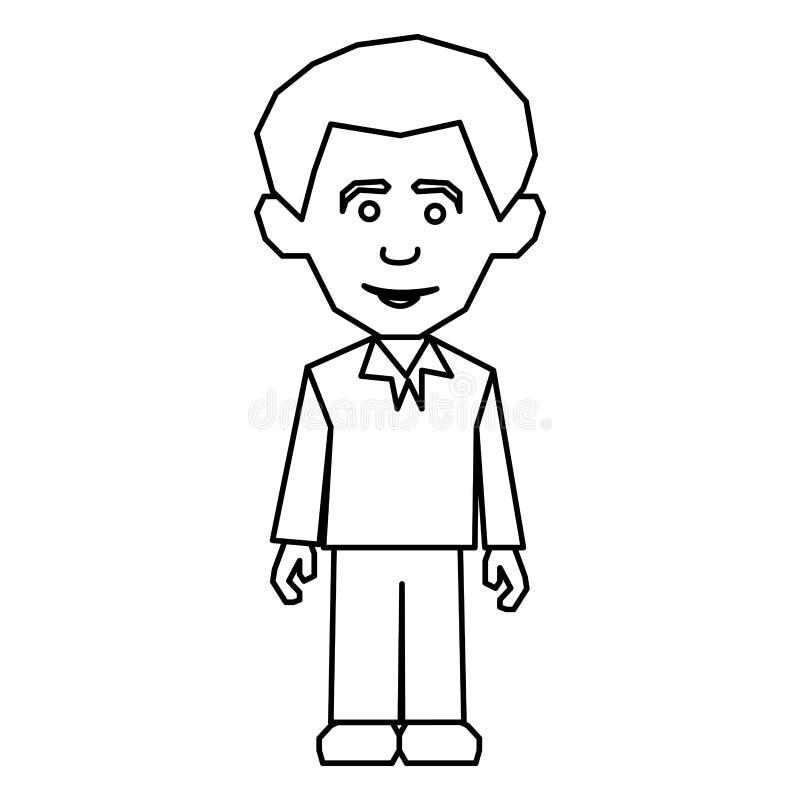 stile casuale vestito uomo della siluetta di schizzo illustrazione di stock
