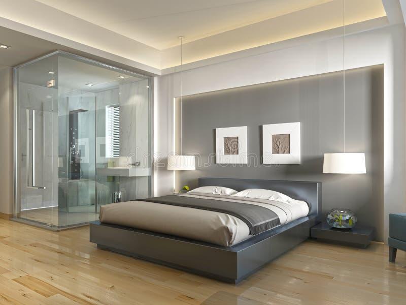 Stile contemporaneo della camera di albergo moderna con gli elementi dell 39 art deco illustrazione - Albergo con piscina in camera ...