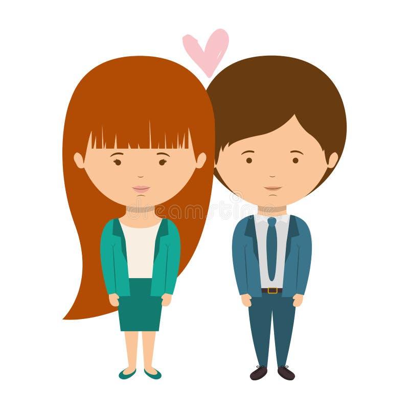 Stile convenzionale vestito coppie nell'amore illustrazione vettoriale