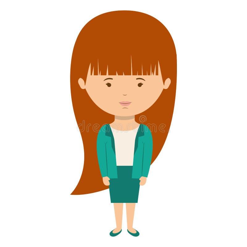 Stile convenzionale vestito donna con capelli lunghi illustrazione vettoriale