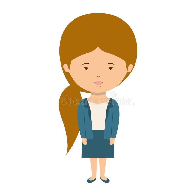 Stile convenzionale vestito donna con i capelli della coda di cavallo royalty illustrazione gratis