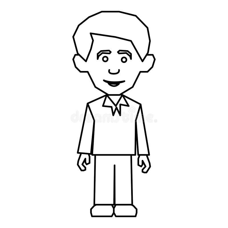 stile convenzionale vestito uomo della siluetta di schizzo illustrazione vettoriale