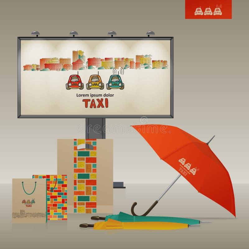 Stile corporativo Città e taxi illustrazione di stock