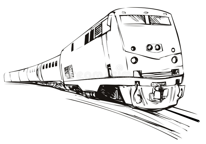 Stile d'accelerazione di abbozzo del treno illustrazione vettoriale