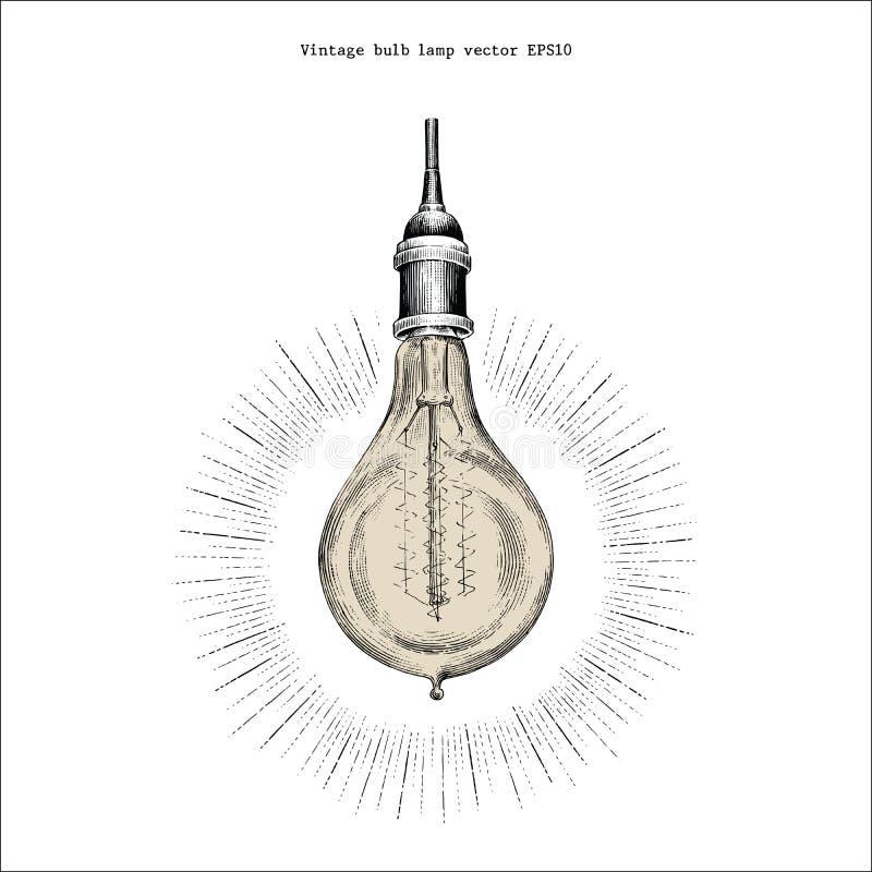 Stile d'annata dell'incisione del disegno della mano della lampada della lampadina illustrazione vettoriale