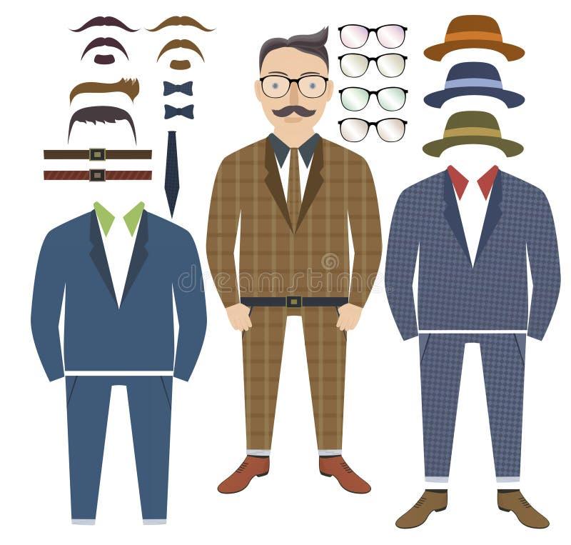 Stile dei pantaloni a vita bassa con gli elementi di stile royalty illustrazione gratis