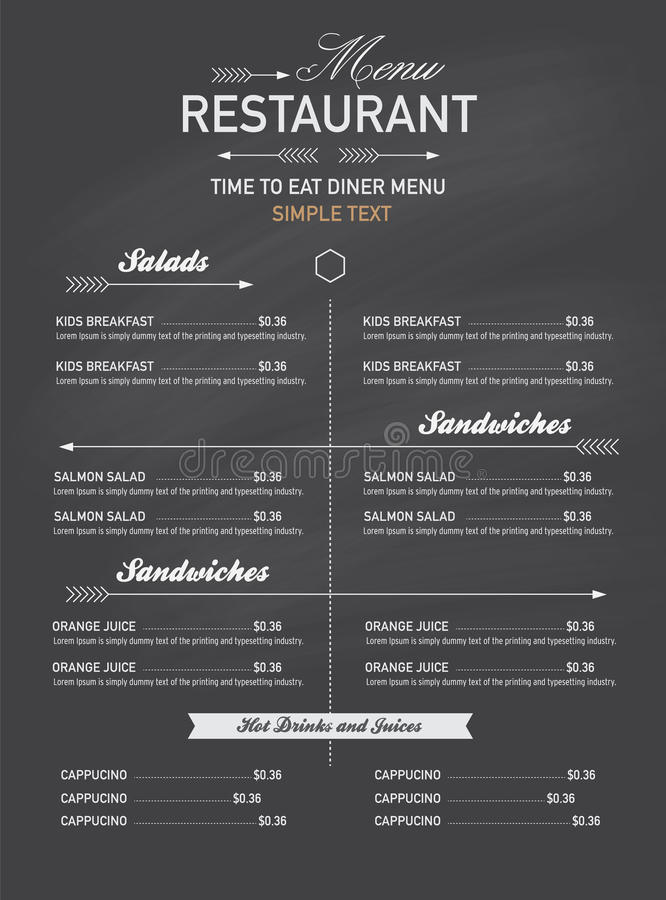 Stile dei pantaloni a vita bassa del ristorante del menu illustrazione di stock