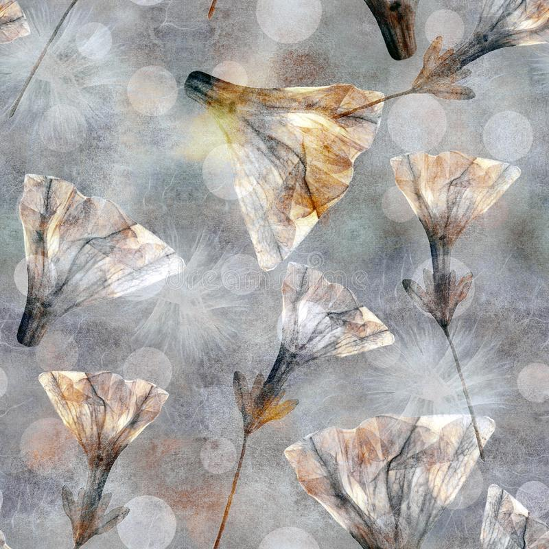 Stile del batik Stylization pastello d'annata Modello variopinto senza cuciture floreale luminoso per l'album per ritagli Collage royalty illustrazione gratis