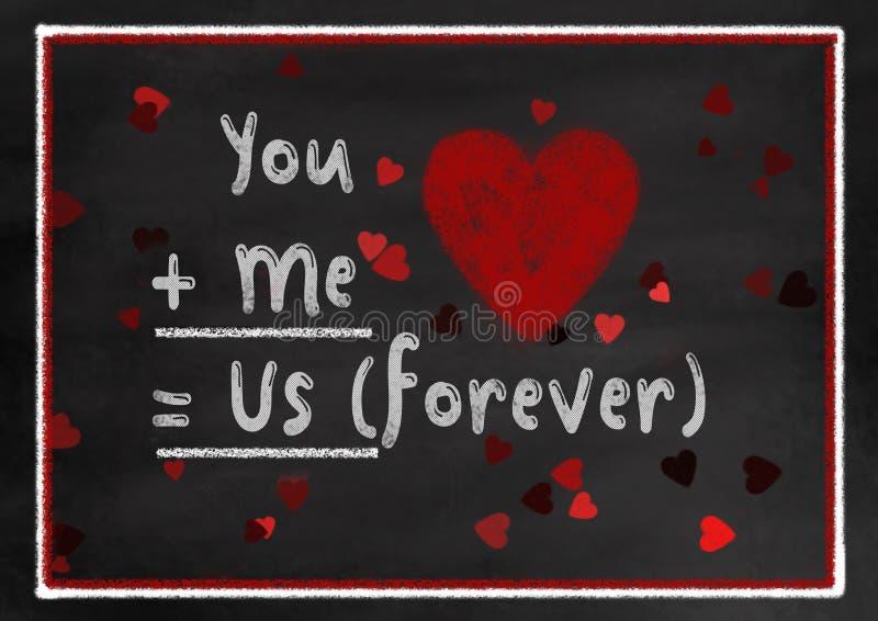 Stile del bordo di gesso voi e me Valentine Card royalty illustrazione gratis