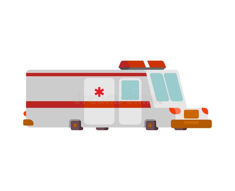 Stile del fumetto dell'automobile dell'ambulanza illustrazione di vettore dell'automobile di sanità illustrazione vettoriale