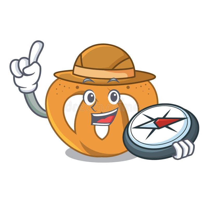 Stile del fumetto della mascotte della ciambellina salata dell'esploratore royalty illustrazione gratis