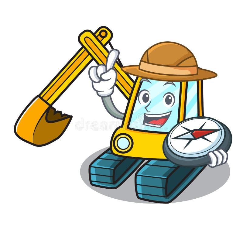 Stile del fumetto della mascotte dell'escavatore dell'esploratore royalty illustrazione gratis