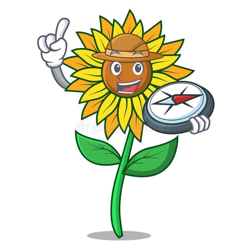 Stile del fumetto della mascotte del girasole dell'esploratore illustrazione di stock