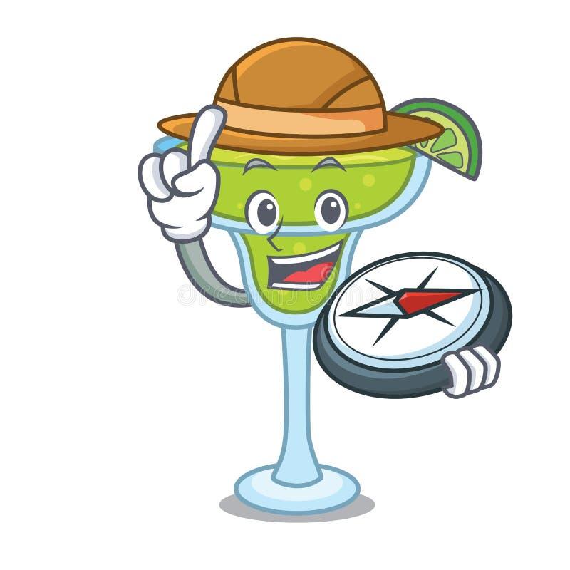 Stile del fumetto della mascotte della margarita dell'esploratore illustrazione di stock
