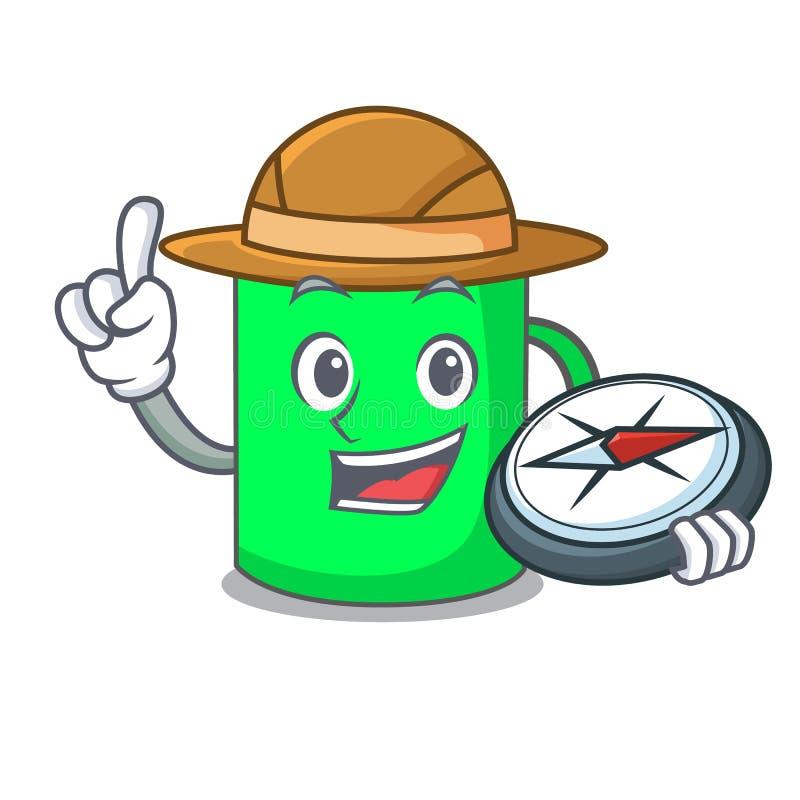 Stile del fumetto della mascotte della tazza dell'esploratore illustrazione di stock