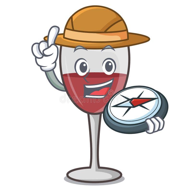Stile del fumetto della mascotte del vino dell'esploratore illustrazione di stock