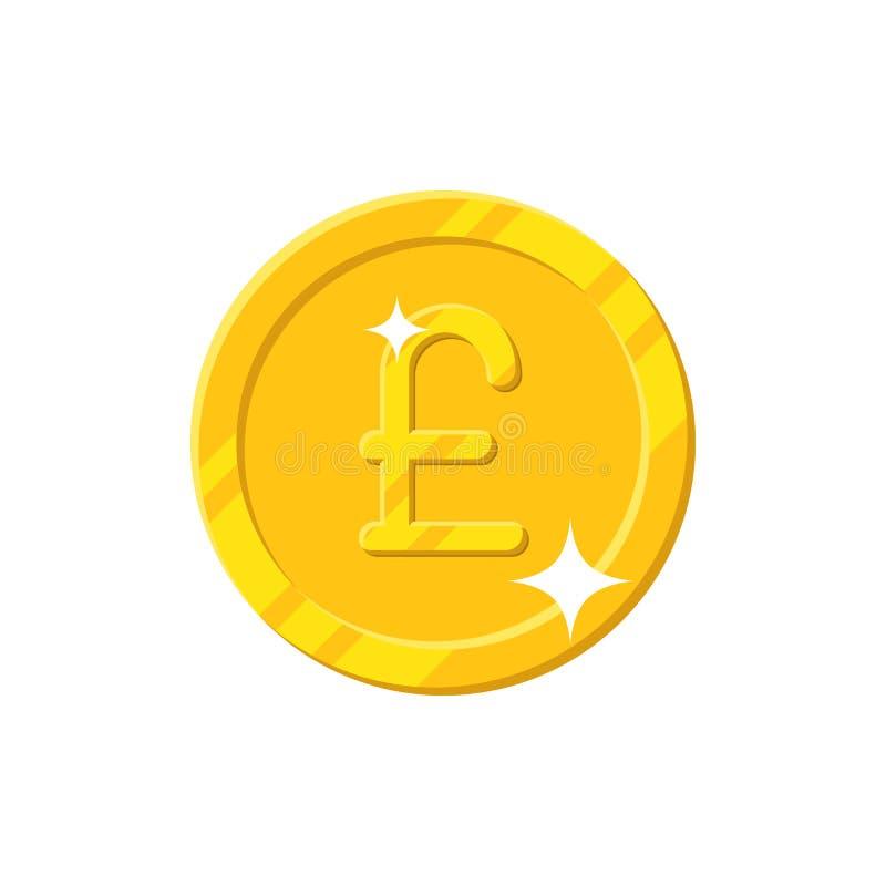 Stile del fumetto della moneta di libbra dell'oro isolato illustrazione di stock