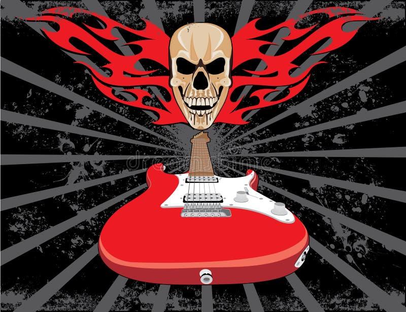 Stile del grunge del cranio e della chitarra royalty illustrazione gratis
