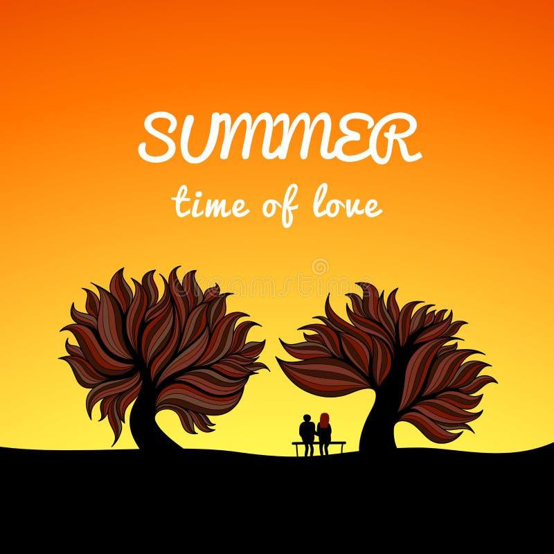 Stile del paesaggio di estate del manifesto, tema di amore illustrazione di stock
