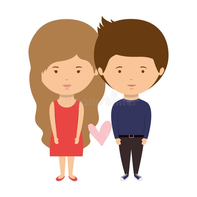 Stile del partito vestito coppie nell'amore royalty illustrazione gratis