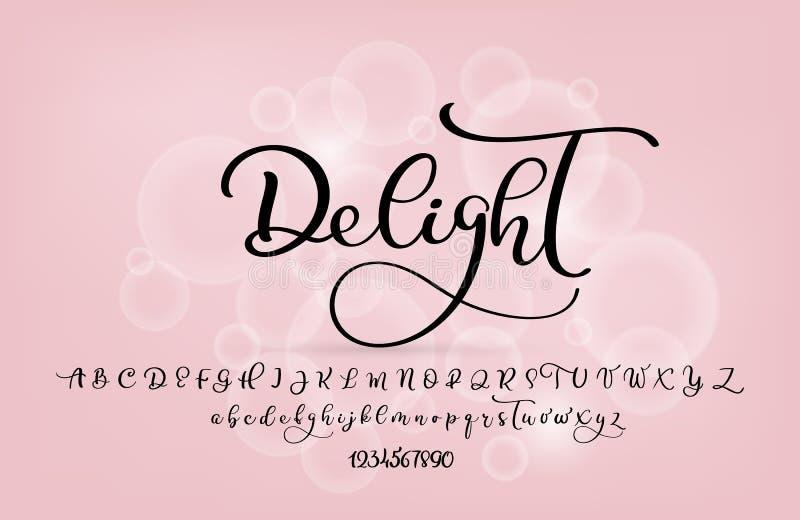Stile del pennello scritto a mano Carattere calligrafico moderno e corsivo con florelli Alfabeto calligrafico Carini lettere di c illustrazione vettoriale