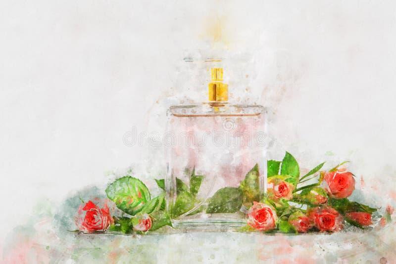 stile dell'acquerello ed illustrazione astratta della bottiglia di profumo d'annata illustrazione vettoriale