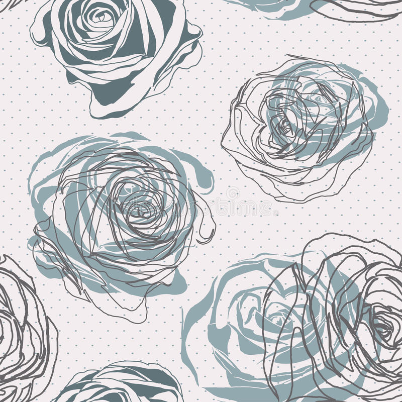 Stile dell'annata Modello rosa floreale illustrazione vettoriale