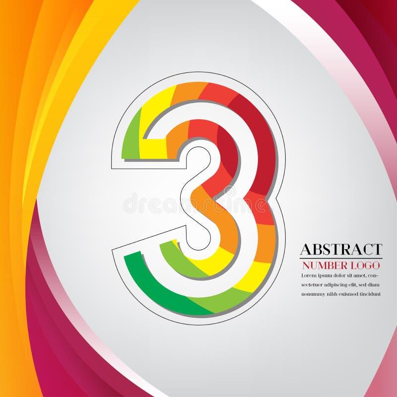 Stile dell'arcobaleno di numero astratto tre, vec variopinto del fondo dell'arco illustrazione vettoriale