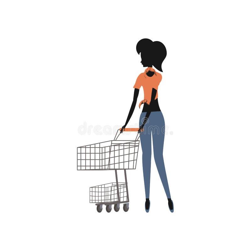 Stile della siluetta della donna retro con il carrello illustrazione vettoriale