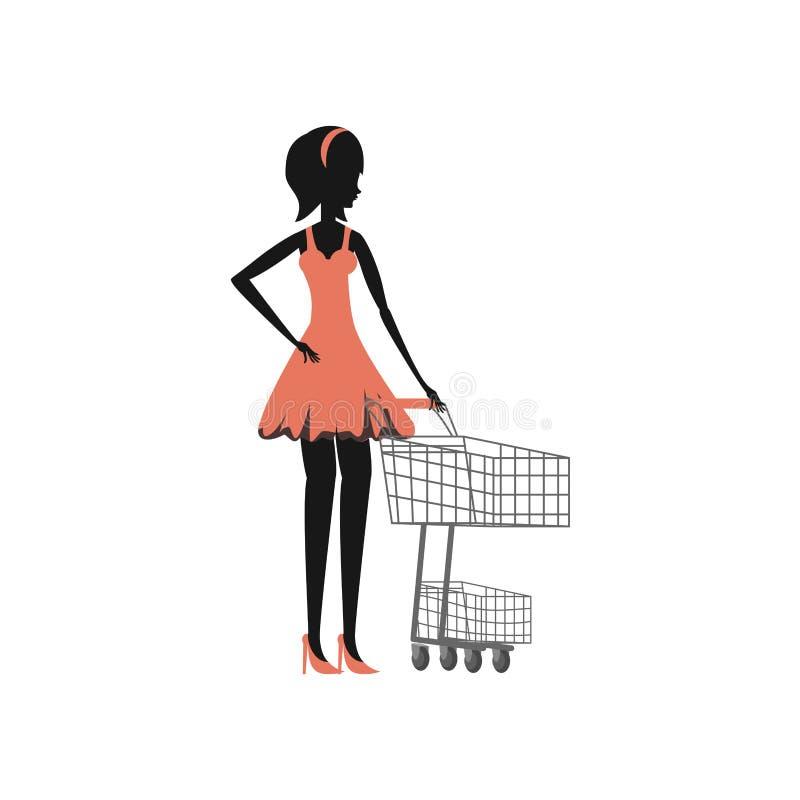 Stile della siluetta della donna retro con il carrello royalty illustrazione gratis
