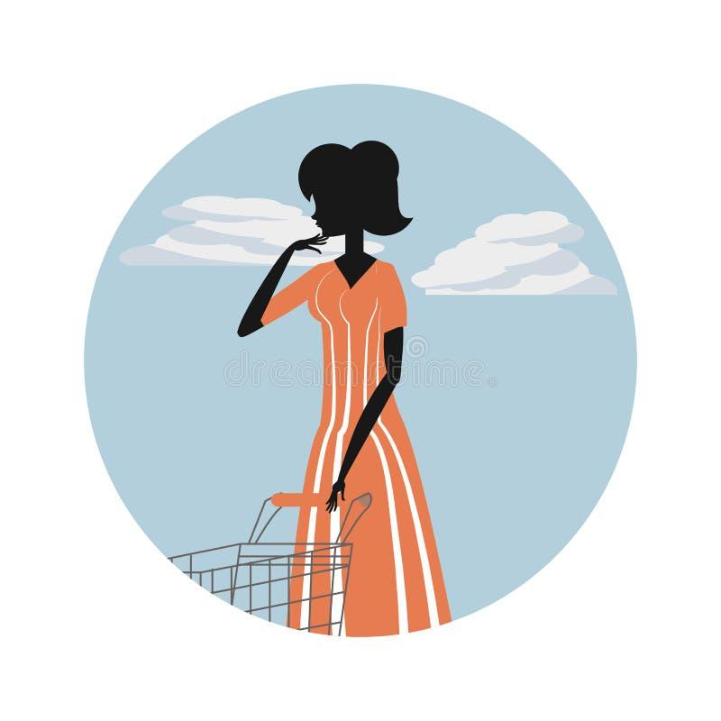 Stile della siluetta della donna retro con il carrello illustrazione di stock