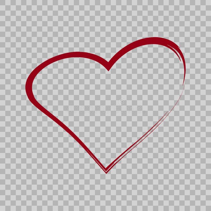 Stile della spazzola del segno del cuore illustrazione vettoriale