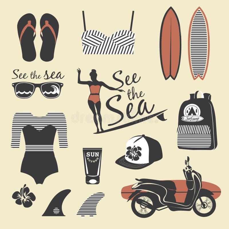 stile della spiaggia Insieme di vettore della ragazza del surfista retro Elementi d'annata della spuma royalty illustrazione gratis