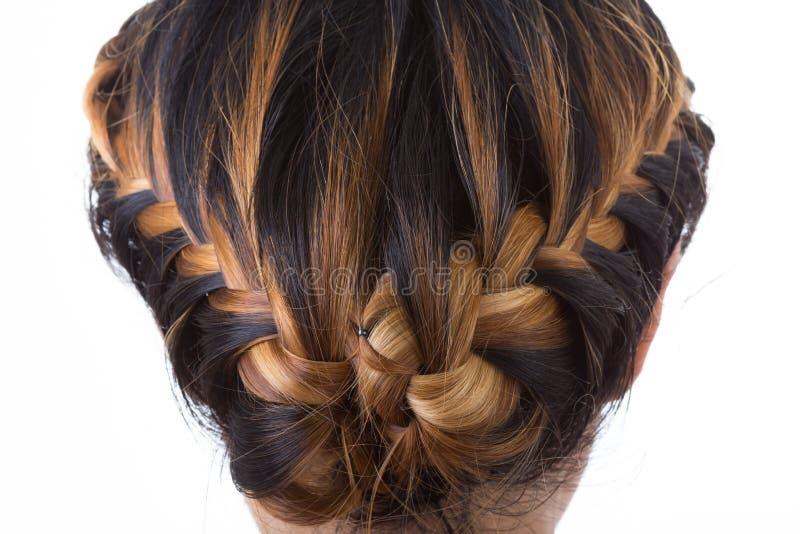 Stile della treccia dei capelli fotografia stock