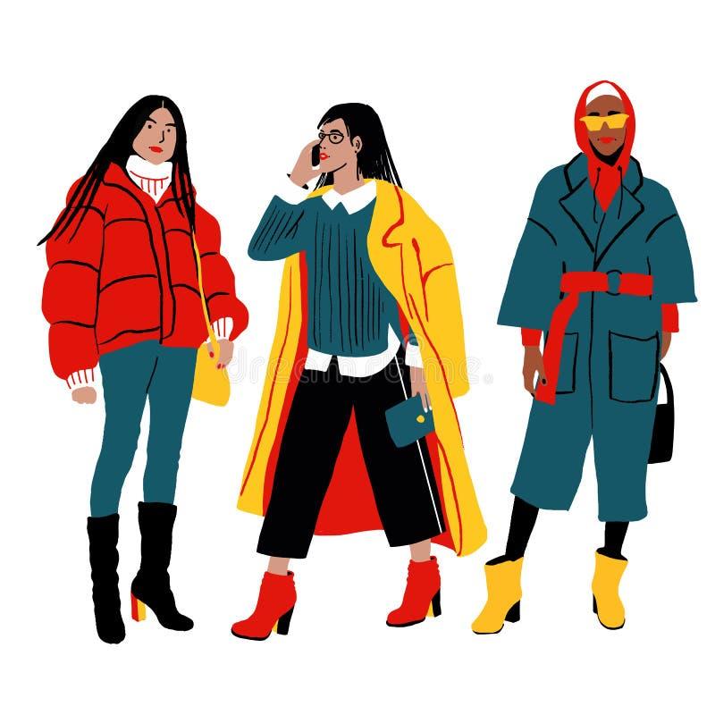 Stile della via di inverno delle donne s Caratteri femminili dettagliati illustrazione di stock