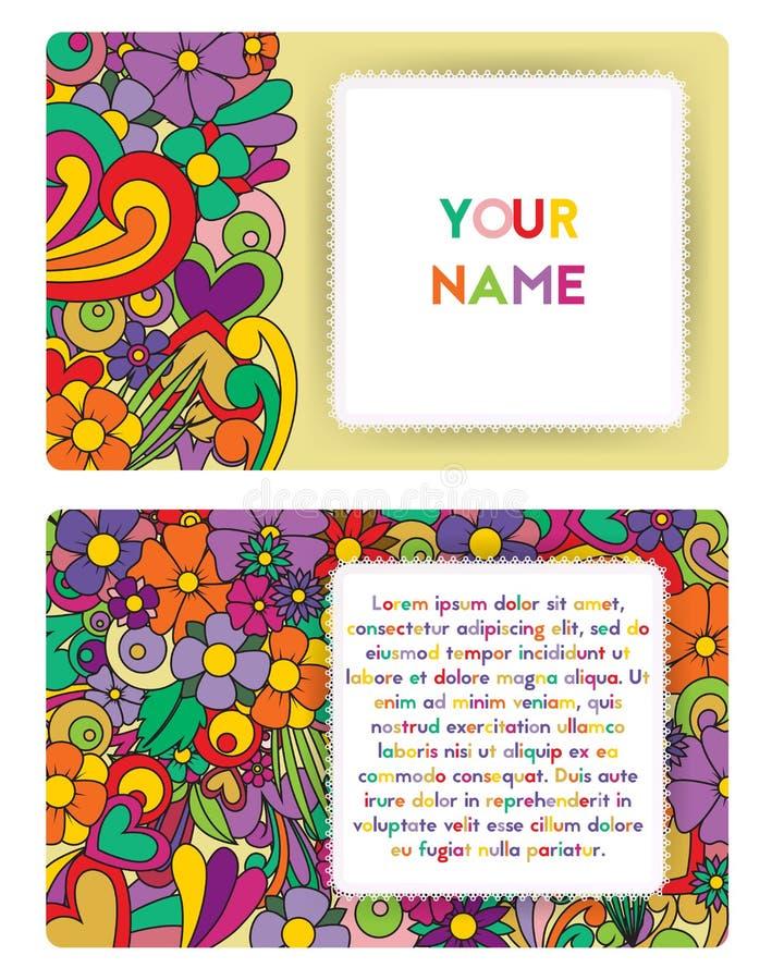 Stile dello zentangle del biglietto da visita Modello floreale di groviglio tagliato di zen illustrazione di stock