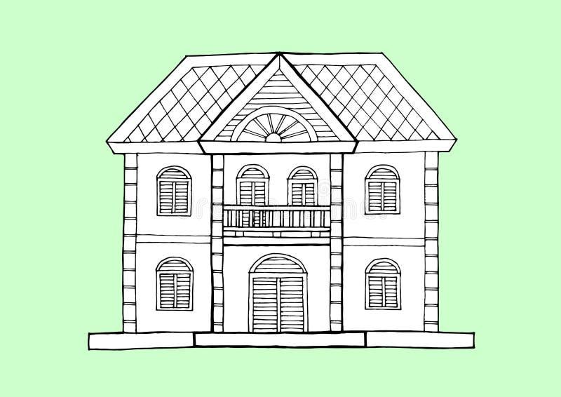 Stile di architettura della casa di pan di zenzero, illustrazione disegnata a mano di progettazione di vettore royalty illustrazione gratis