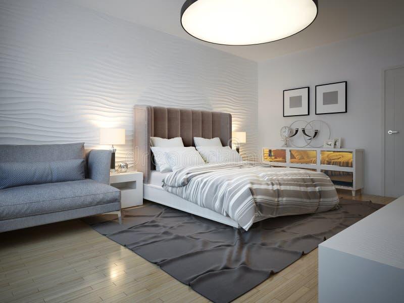 Stile di art deco della camera da letto con la grande for Camera da letto del soffitto della cattedrale