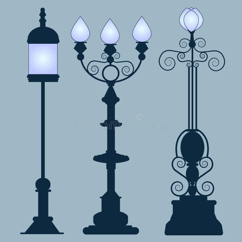 Stile di Art Nouveau delle lampade di via della raccolta royalty illustrazione gratis