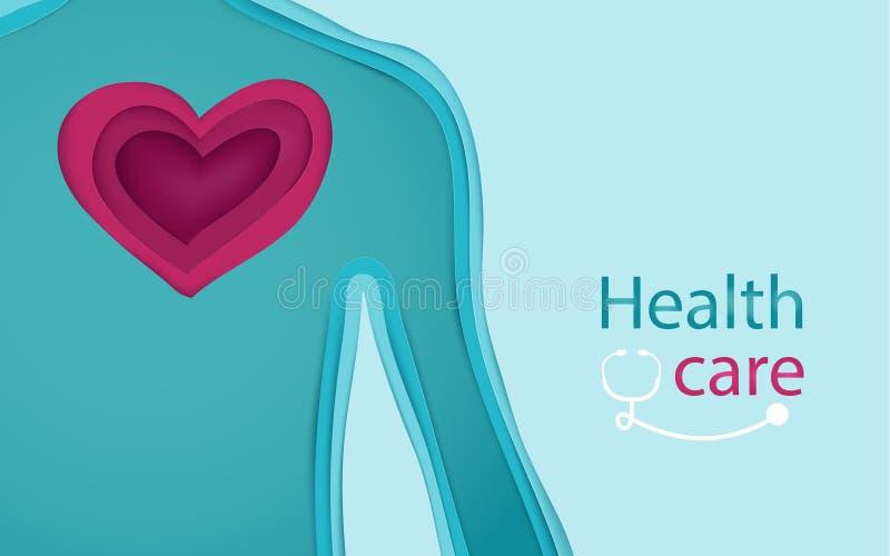 Stile di arte della carta della forma 3d del cuore e del corpo Concetto di cura e di salute illustrazione vettoriale