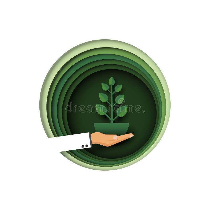 02 Stile di arte della carta della pianta della tenuta della mano royalty illustrazione gratis