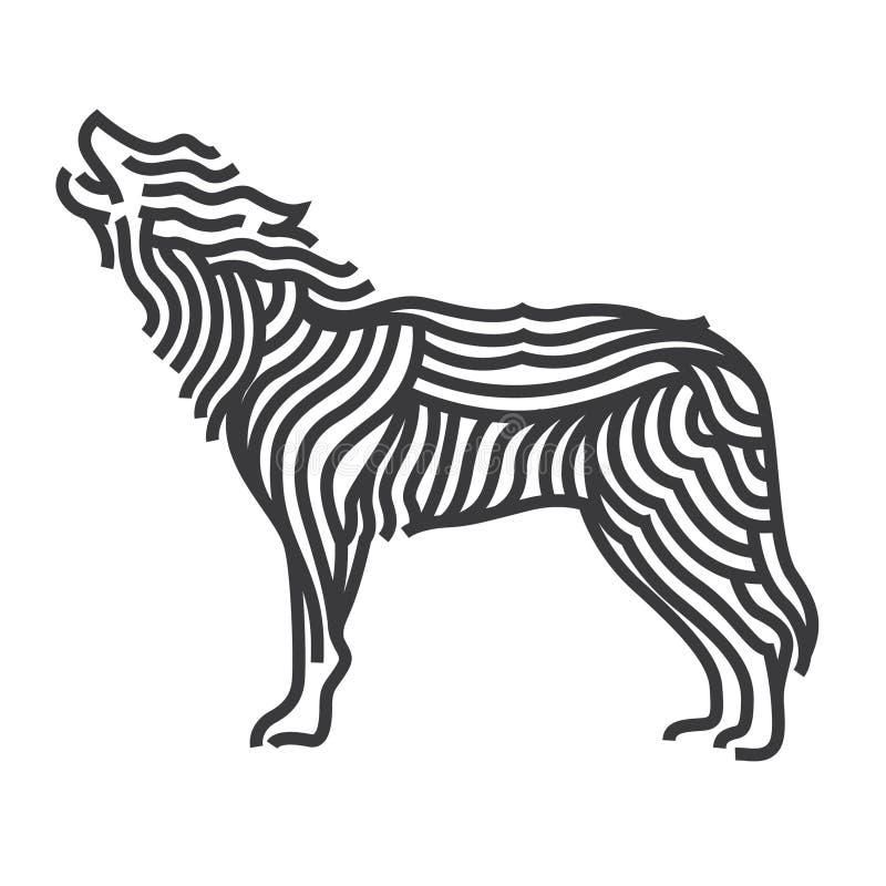 Stile di arte di simbolo del lupo La linea vettore illustra royalty illustrazione gratis