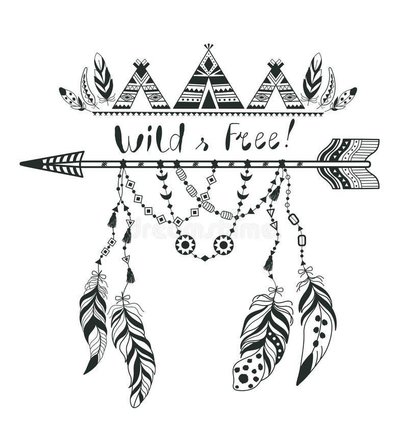 Stile di Boho per la maglietta e la decorazione Progettazione astratta con la piuma e la freccia di uccello royalty illustrazione gratis