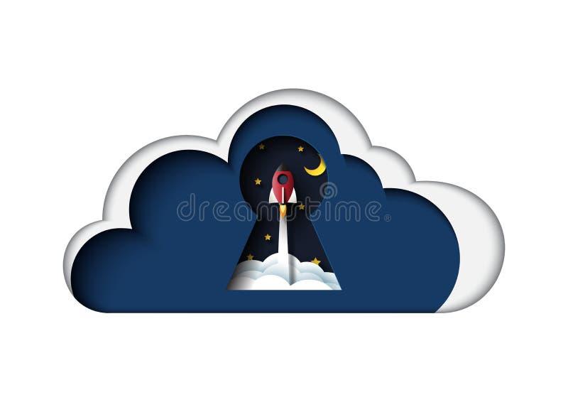 Stile di calcolo di arte della carta dell'icona di concetto della nuvola royalty illustrazione gratis