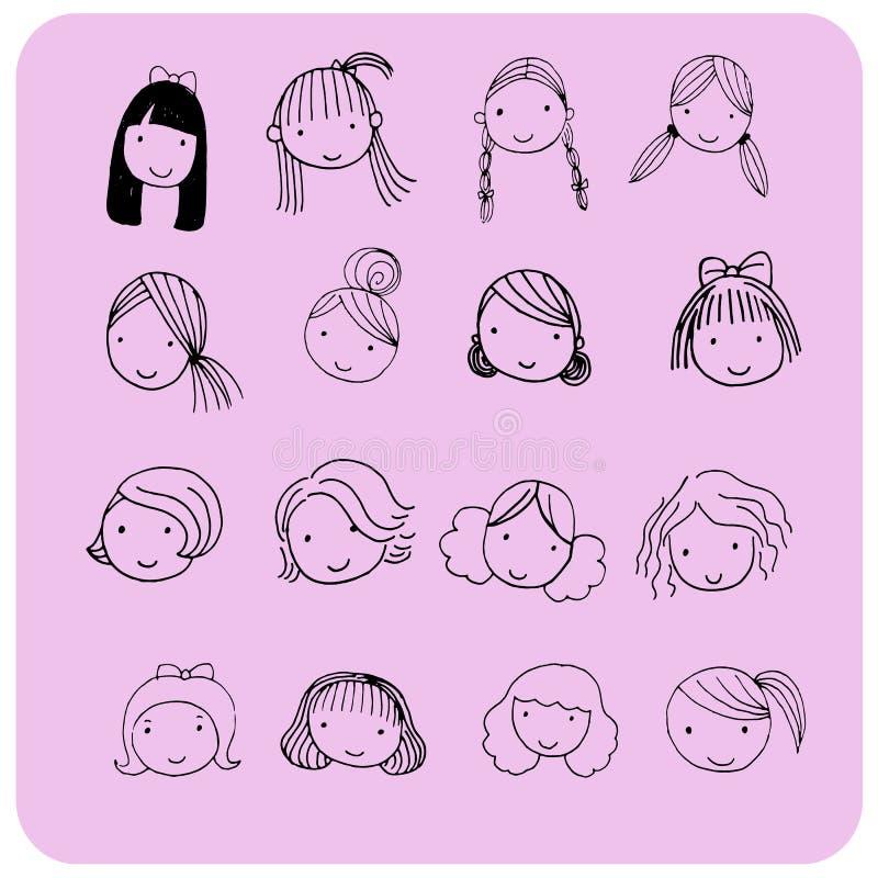 Stile di capelli per il fronte del fumetto immagine stock libera da diritti