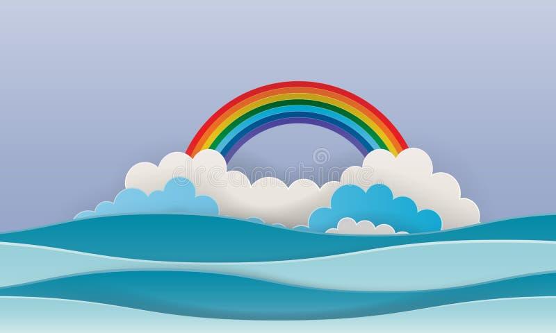 Stile di carta di arte con le combinazioni colori pastelli del fondo del cielo e del mare royalty illustrazione gratis